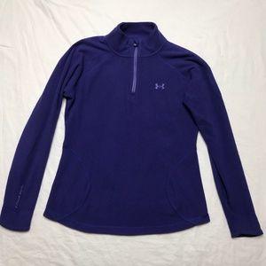 Under Armour purple mock neck pocket fleece shirt